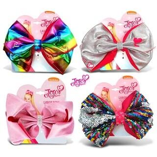 "Jojo Siwa Silver Metallic, Rainbow Metallic, Pink Glitter & Rainbow Sequin Ponytail Bows On Elastic Hair Band 7""x5"" (4 Items)"