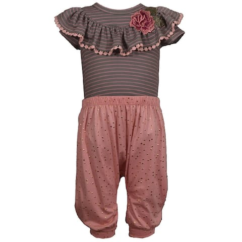 Bonnie Jean Rose Striped Ruffled Embroidered Harem Pants Set Baby Girls