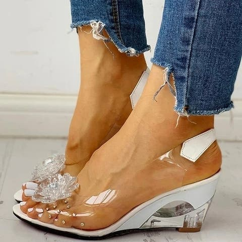 Summer Women Casual Daily Comfy Flower Wedge Middle Heel Sandals