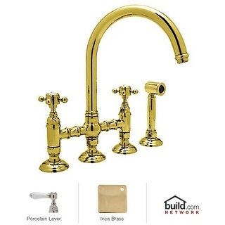 Rohl A1461LPWS-2 Country Kitchen Bridge Faucet with Side Spray and Porcelain Lever Handles