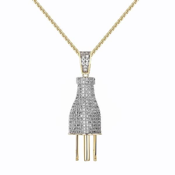 14k Gold Tone Switch Plug Pendant Pave Set Iced Out Lab Diamonds Chain