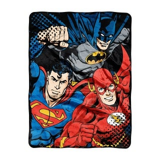 Justice League Trio Micro Raschel Throw