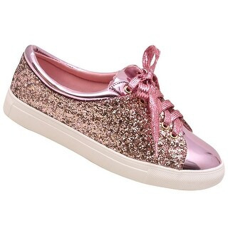 Adult Pink Texture Shimmer Lace-Up Closure Sneaker Casual Shoes