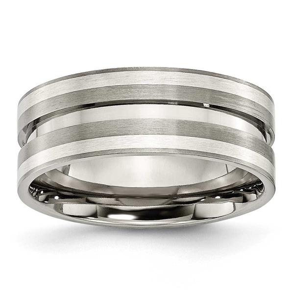 Chisel Sterling Silver Inlaid Grooved Brushed Titanium Ring (8.0 mm) - Sizes 6-13
