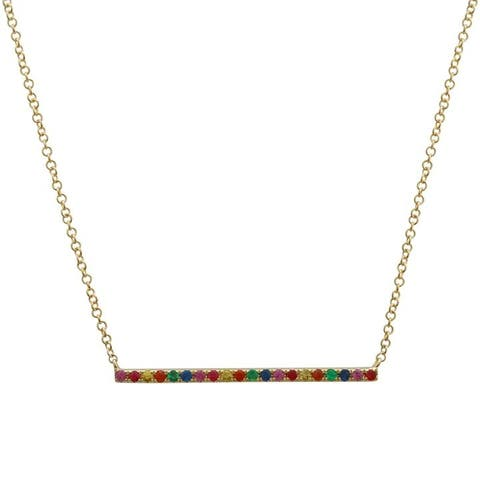 14k Yellow Gold Rainbow Sapphire Bar Pendant Necklace, 16-18""