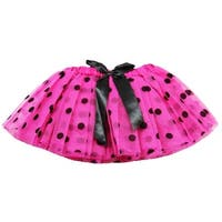 Baby Girls Hot Pink Black Polka Dots Satin Elastic Waist Ballet Tutu Skirt 0-12M - 0-12 months