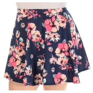 Womens Navy Floral Mini A-Line Skirt Juniors Size 7