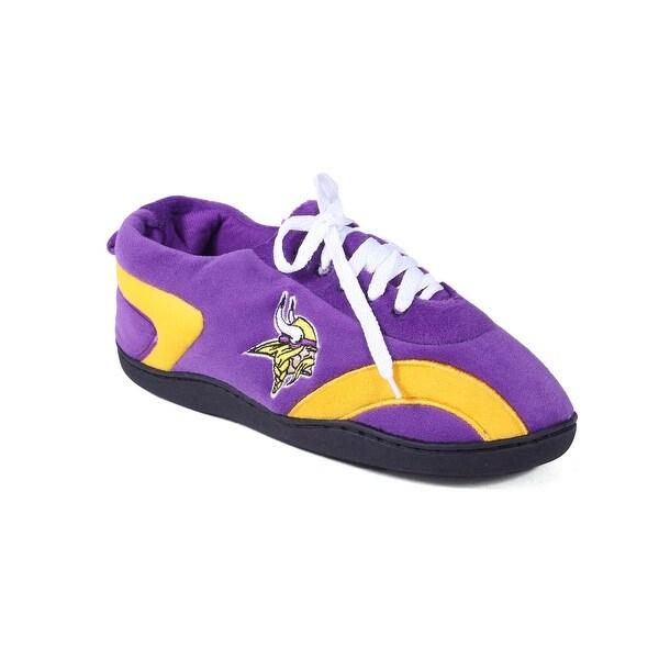 0988dee052e Happy Feet Mens and Womens Minnesota Vikings NFL All Around Slippers -  Purple