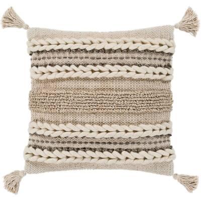 "Goa Taupe Bohemian Tassel Wool Throw Pillow Cover (20"" x 20"")"