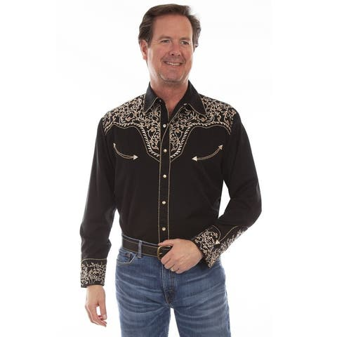 Scully Western Shirt Mens Long Sleeve Floral Scroll Snap
