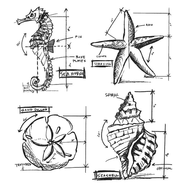 "Tim Holtz Cling Stamps 7""X8.5""-Nautical Blueprint"