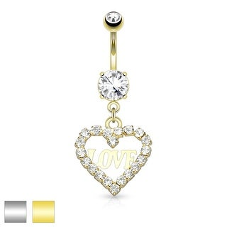 Crystal Pave Hollow Heart with Love Dangle Surgical Steel Belly Button Navel Ring - 14GA (Sold Ind.)
