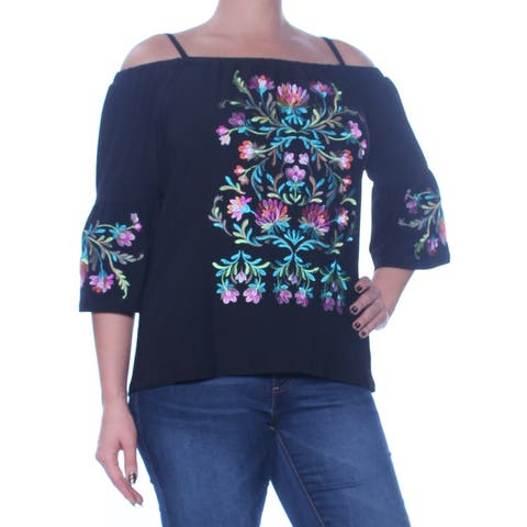 INC Womens Black Cold Shoulder Embroidered 3/4 Sleeve Square Neck Top Size: L