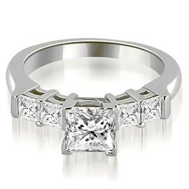 0.90 cttw. 14K White Gold Princess Cut Diamond Engagement Ring
