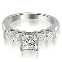 0.90 cttw. 14K White Gold Princess Cut Diamond Engagement Ring