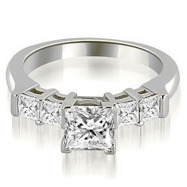 1.15 cttw. 14K White Gold Princess Cut Diamond Engagement Ring
