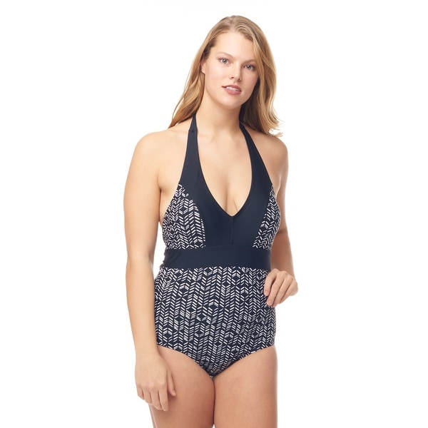 Sea Sand Swimwear V-neck two tone Mio Swimsuit. Opens flyout.