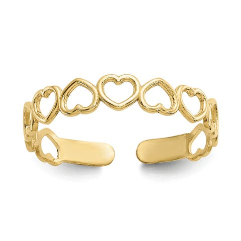 10K Yellow Gold High Polished 4mm Open Hearts Toe Ring by Versil