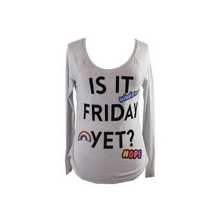 Belle Du Jour Juniors Grey Raglan-Sleeve Friday Graphic T-Shirt XL