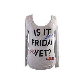 Belle Du Jour Juniors Grey Raglan-Sleeve Friday Graphic T-Shirt XS