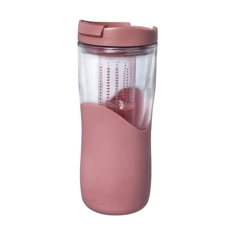 Copco Tea Thermal With Removable Infuser - Double Wall Insulated Tumbler, Soft Grip Sides & Sip Thru Lid 14 Oz, Rose Gold
