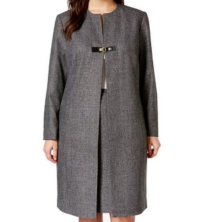 Calvin Klein NEW Gray Charcoal Women's 16W Plus Snap-Buckle Tweed Coat