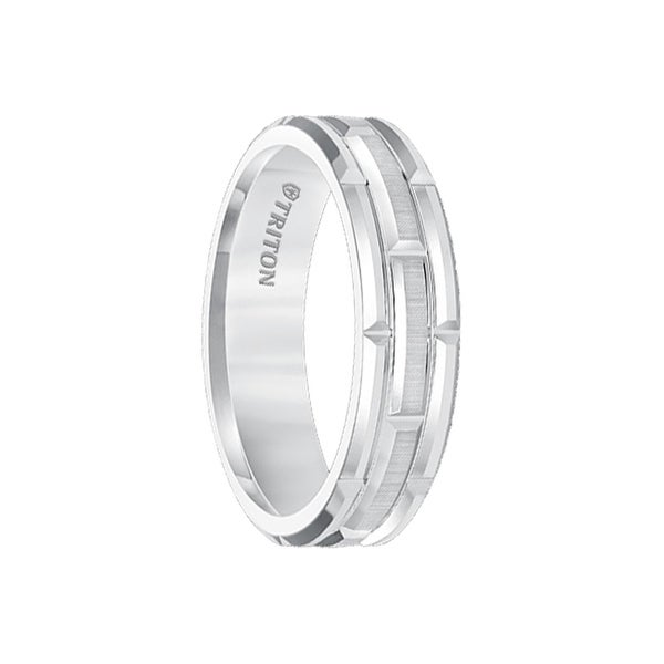 ARJAN White Tungsten Carbide Comfort Fit Band with Cut Brick Motif and Satin Finished Center by Triton Rings - 6mm