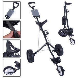Costway Foldable 3 Wheel Push Pull Golf Cart /Cup Holder Trolley Swivel Steel Light (3 Wheel)