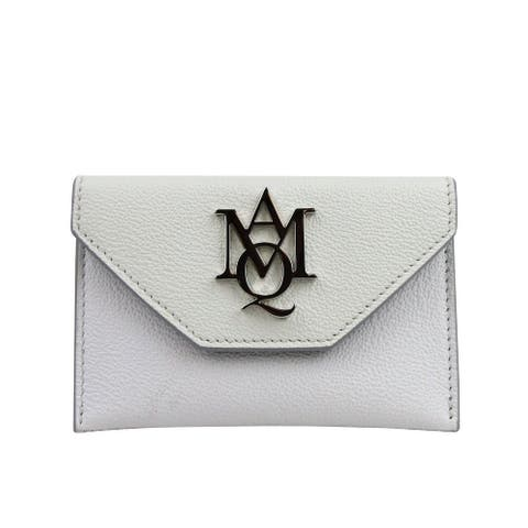 Alexander McQueen Unisex Two Tone White / Ivory Leather Card Holder 439197 9870