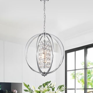 Link to Chrome 3-Light Globe Orb Chandelier with Crystal Lined Cylinder Similar Items in Kids' & Toddler Furniture