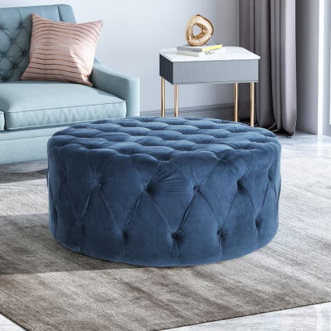 Orla Modern Glam Round Tufted Velvet Ottoman by Christopher Knight Home