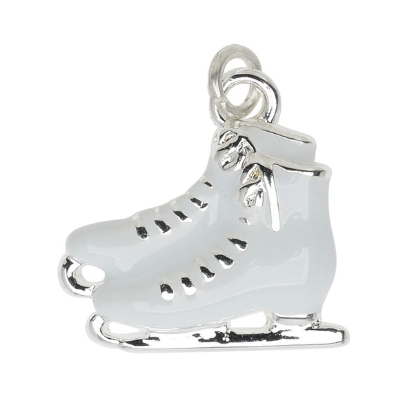 Silver Plated and Enameled Charm, Ice Skates (Left) 16x16x3.5mm, 1 Piece, White
