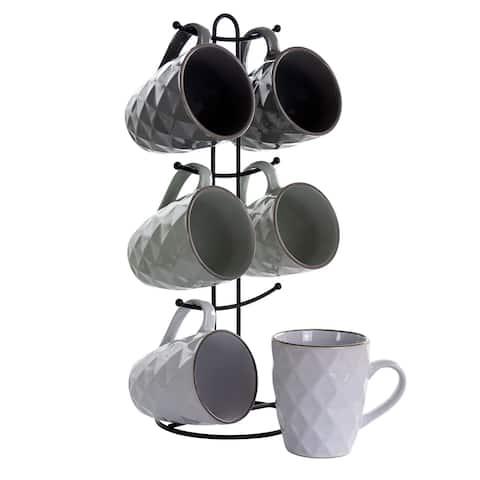 Elama Diamond Waves 6-Piece 12 oz. Mug Set with Stand, Assorted Colors