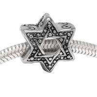 Silver Tone Star Of David - European Style Large Hole Bead (1)