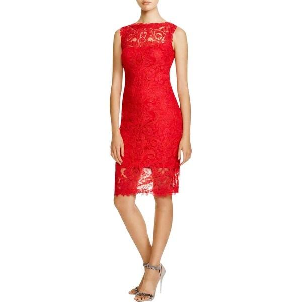 Tadashi Shoji Womens Cocktail Dress Lace Overlay Sleeveless