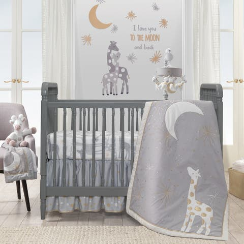 Lambs & Ivy Goodnight Giraffe Gray/White Celestial 5-Piece Baby Crib Bedding Set