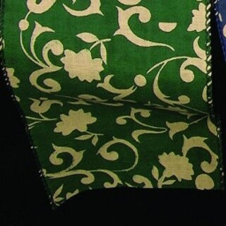"Hunter Green Floral Lattice Print Wired Cotton Craft Ribbon 4"" x 40 Yards"