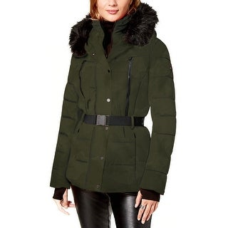 Link to Michael Michael Kors Womens Olive Green Camoflage Lightweight Puffer Coat Belted Similar Items in Jackets