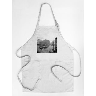 Seattle, Washington - Pioneer Square Panoramic View - Vintage Photograph (Cotton/Polyester Chef's Apron)