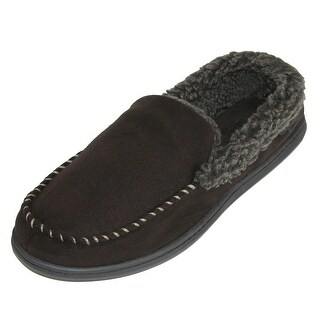 Dearfoams Mens Suede Moccasin with Whipstitch Detail