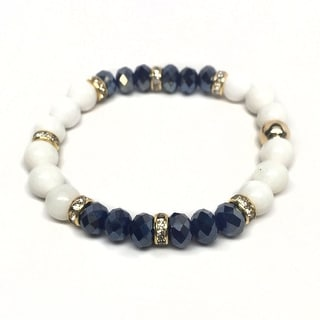 "White Jade & Blue Crystal Posh 7"" Bracelet"