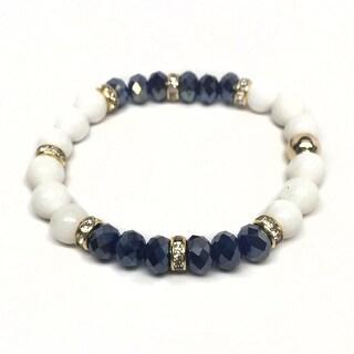 "White Jade & Blue Crystal Posh 7"" Bracelet"