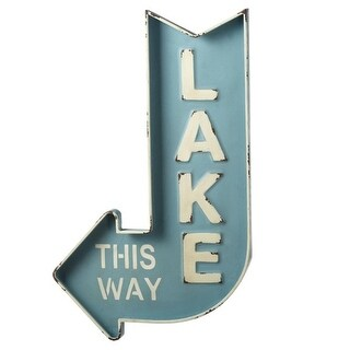 Pack of 2 Blue and White Lake This Way Left Arrow Sign 31.87