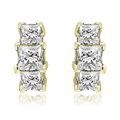 0.90 cttw. 14K Yellow Gold Three-Stone Princess Cut Diamond Earrings - White H-I