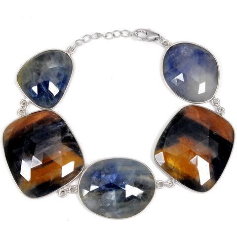 Sapphire Sterling Silver Fancy Chain Bracelet By Orchid Jewelry