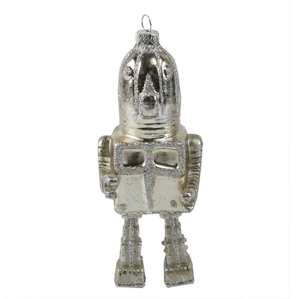 "4.5"" Blast Off Retro-Style Silver Round Robot Glass Christmas Ornament"