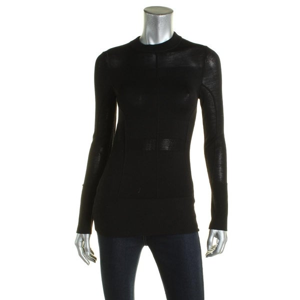 DKNY Womens Mock Turtleneck Sweater Merino Wool Ribbed - Free ...