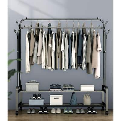 Garment Portable Clothe Rack Hanger With Double Hanger Poles - DoubleHangerPole