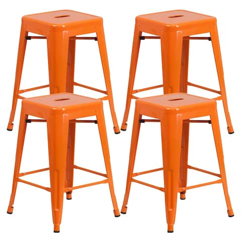 Brage Living Millard Stackable Industrial Metal Counter Stool - (Set of 4) - Orange