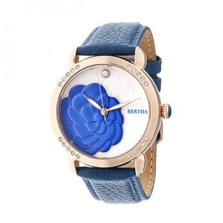 Bertha Daphne Women's Quartz Watch, Mother of Pearl Dial, Genuine Leather Band, Luminous Hands